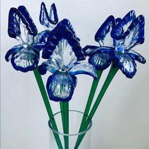 Hand Blown Large Glass Stemmed Iris Flowers Set 5
